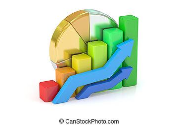商业, 图表, 馅饼图表, 图形, bar., 3d, 提供