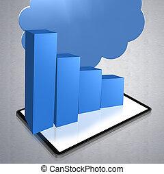 商业, 图表, 3d, 描述, 蓝色, 颜色