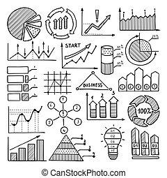 商业, 图解, 在中, 图表, 制图法, 同时,, 其它, 不同, infographics, elements., 图画, 在中, 手, 画, 风格