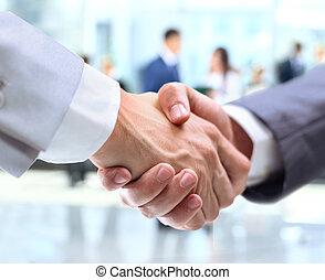 商业, 握手, 同时,, 商务人士