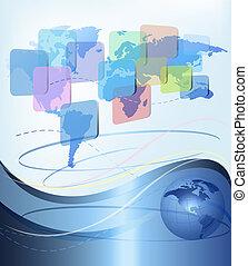 商业, 摘要, 背景, 带, 世界, map., 矢量, illustration.