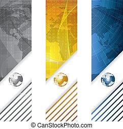 商业, 矢量, 旗帜, 全球, 概念