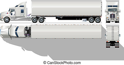 商业, hi-detailed, 半卡车