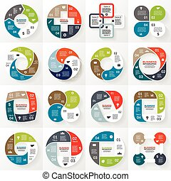 商业, infographic, 图形, 4, 环绕, 选择
