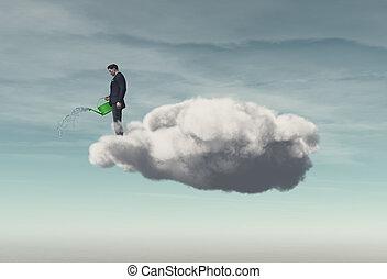 商人站, 在上方, a, 雲, 建立, 雨