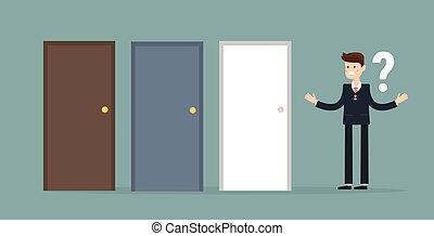 商人站, 在旁邊, 三, 門, 無法, 做, the, 權利, 決定, 概念, 由于, 問號, 上面, 他的, 頭