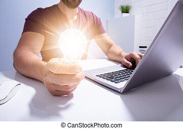 商人, 光, 照明, 藏品, 燈泡