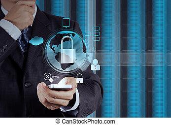商人, 削尖的手, 到, 挂鎖, 上, 触屏, 電腦, 如, 因特網安全, 在網上, 生意概念