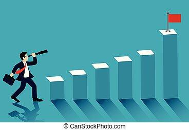 商人, 去, 矢量, 圖表, cartoon., 成功, goal., 酒吧, 看, 雙目, flag., 藍色, 紅色, 站立, 商業描述, 背景。
