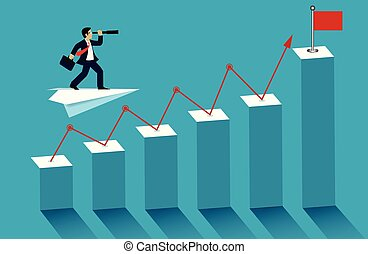 商人, 去, goal., leadership., idea., 站立, 背景。, 矢量, 成功, 酒吧, 雙目, flag., 藍色, 插圖, 飛機, 紙, 圖表, 看, 紅色, 創造性, 事務