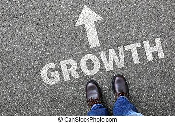 商人, 商人, 概念, 由于, 成長, 生長, 成功, 成功