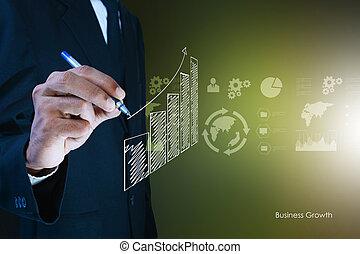 商人, 圖畫, 成長, 圖表