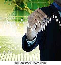 商人, 圖畫, the, 股票圖表
