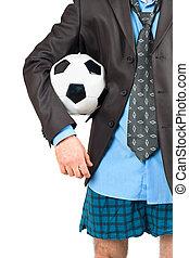 商人, 在, 他的, 內衣, 由于, 足球