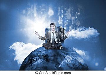 商人, 坐, 在世界的頂端上, 由于, 數据, 服務器