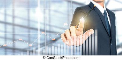 商人, 增加, 指示器, 積極, 計劃, 成長, 圖表, 圖表