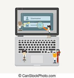 商人, 安全, 概念, 網際網路