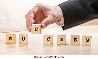商人, 安排, 塊, 為, 成功, 概念