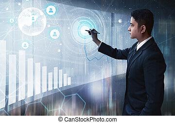 商人, 屏幕, 圖畫, 實際上