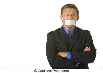商人, 带, 他的, 武器折叠, 同时,, 他的, 嘴, 录音, 关闭