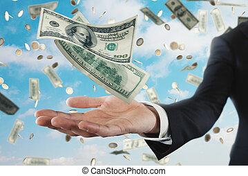 商人, 带, 多雨, banknotes, 结束, 天空, 背景。, 概念, 在中, 成功, 职业, 同时,, 大, 收入