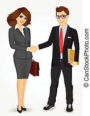 商人, 從事工商業的女性, 握手