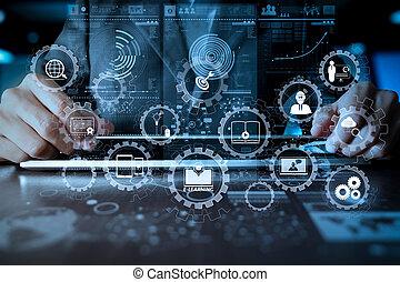商人, 手, 工作上, 便攜式電腦, 由于, 社會, 媒介, 圖形, 上, 木 書桌