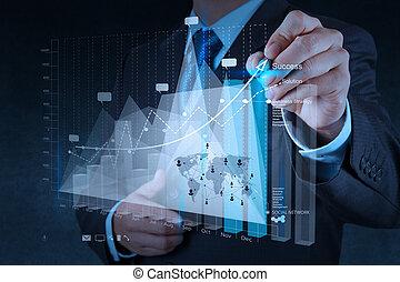 商人, 手, 工作, 带, 新, 现代, 计算机, 同时,, 商业策略, 作为, 概念