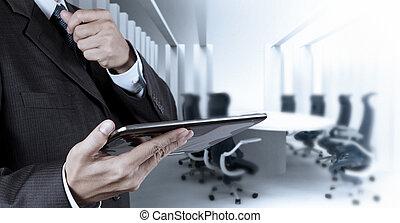 商人, 手, 工作, 由于, a, 數字的藥片