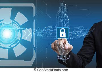 商人, 手, 按鈕, security., 簽署, 上, 實際上, screen., 事務, 安全, concept.