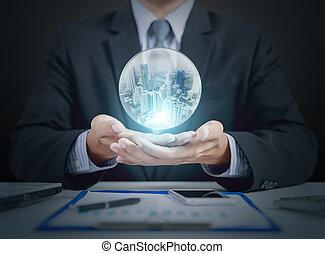 商人, 手, 握住, 水晶球, 由于, 建築物, 裡面
