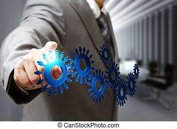商人, 手, 點, 嵌齒輪, 圖象, 在, 董事會會議室