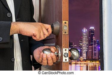 商人, 打開門, 到, 夜晚, 都市風景