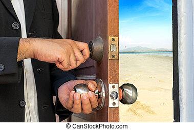 商人, 打開門, 所作, 鑰匙, 到, the, 海灘