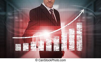 商人, 按壓, 紅色, 圖表, 以及, 箭, 接口