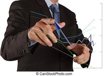 商人, 推, 解決, 圖表, 上, a, 触屏, 接口