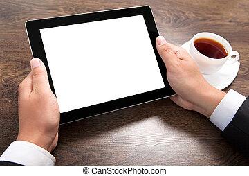商人, 握住一个牌子, 计算机, 带, 隔离, 屏幕, 结束, the, 村庄, 桌子