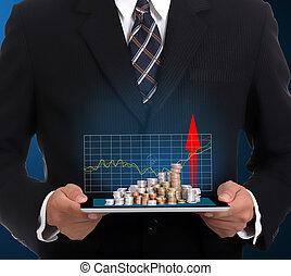 商人, 握住, 接触衬垫, 同时,, 生长, 财政