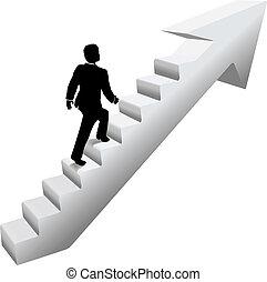 商人, 攀登, 樓梯, 成功
