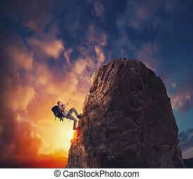 商人, 攀登, a, 山, 为了得到, the, flag., 成就, 商业, 目标, 同时,, 困难, 职业, 概念