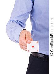 商人, 显示, 玩, card.