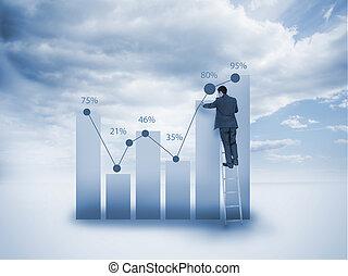 商人, 梯子, 圖表, 圖畫