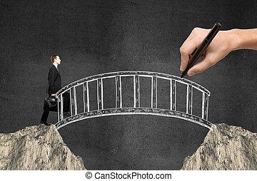 商人, 步行, 橫跨, 橋梁