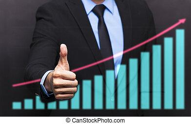 商人, 由于, 姆指向上, 姿態, 以及, 事務, 生長, 圖表