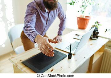 商人, 由于, 手臂, 延長, 到, 握手
