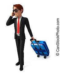商人, 由于, 旅行, 袋子