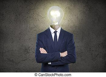 商人, 由于, 燈泡, 頭