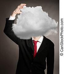 商人, 由于, 雲