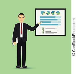商人, 發表講話, 由于, banner., infographic, 上, 辦公室, board., 生意概念
