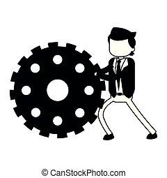 商人, 白色, 推, 黑色, 齿轮